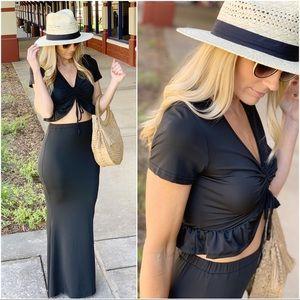Infinity Raine Skirts - Black 2 piece skirt and top set